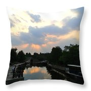 Sunset Over The Canal At Ladbroke Grove. Throw Pillow