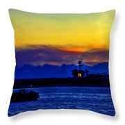 Sunset Over The Carl Vinson Throw Pillow