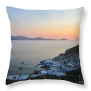 Sunset Over The Fishing Cove Of Klima On The Cycladic Island Of Milos Throw Pillow