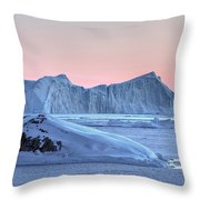 sunset over the Icefjord - Greenland Throw Pillow