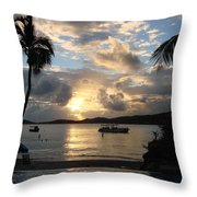 Sunset Over The Inifinity Pool At Frenchman's Cove In St. Thomas Throw Pillow