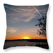 Sunset Over The Marina Throw Pillow