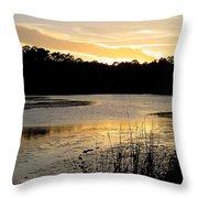 Sunset Over The Marsh Throw Pillow