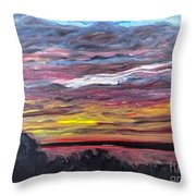 Sunset Over The Mississippi Throw Pillow