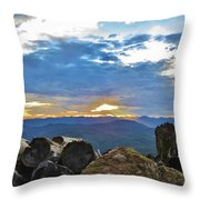 Sunset Over The Mountain Range Throw Pillow