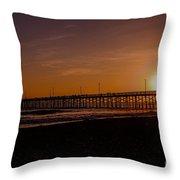 Sunset Over The Newport Beach Pier Throw Pillow