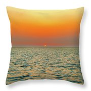 Sunset Over The Ocean In Galapagos Throw Pillow