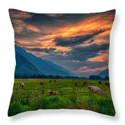 Sunset Over The Pasture Throw Pillow