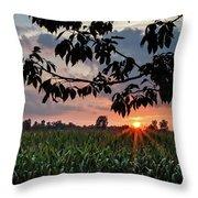 Sunset Over The Plains Throw Pillow