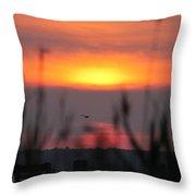 Sunset Over The Reeds Throw Pillow