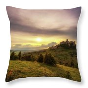 Sunset Over The Ruins Of Spis Castle In Slovakia Throw Pillow