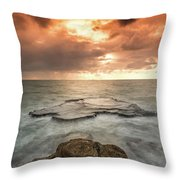 Sunset Over The Sea In Israel Throw Pillow