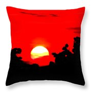 Sunset Over The Trees Throw Pillow