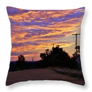 Sunset Over The Wheat Fields Throw Pillow
