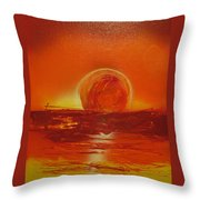 Sunset Over Troubled Waters Throw Pillow