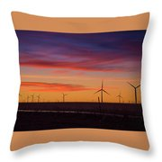 Sunset Over Windmills Field Throw Pillow