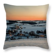 Sunset Over Winter Landscape Throw Pillow