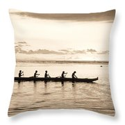 Sunset Paddlers - Sepia Throw Pillow