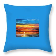 Sunset - Palette Knife Oil Painting On Canvas By Leonid Afremov Throw Pillow