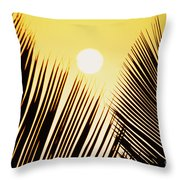 Sunset Palm Fronds Throw Pillow