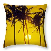 Sunset Palms And Family Throw Pillow
