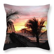 Sunset Palms At Sharky's On The Pier Throw Pillow