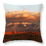 Sunset Panorama In Arches National Park Throw Pillow