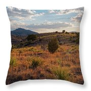 Sunset Panorama Of Blue Mountain At Davis Mountains State Park - Indian Lodge Trail Fort Davis Texas Throw Pillow