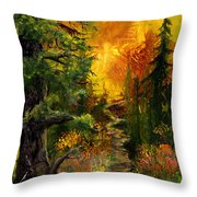 Sunset Path Throw Pillow