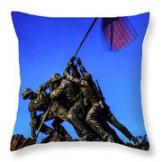 Sunset Photo At The Iwo Jima Monument Throw Pillow