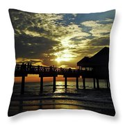 Sunset Pier Reflection Throw Pillow