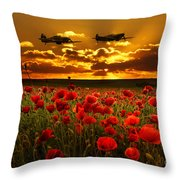 Sunset Poppies Fighter Command Throw Pillow