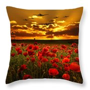 Sunset Poppies The Bbmf Throw Pillow