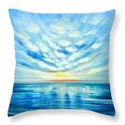 Sunset Quest Blue Throw Pillow