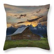 Moulton Barn Sunset Grand Teton National Park Throw Pillow