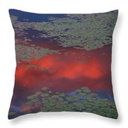 Sunset Reflection In Pond Throw Pillow