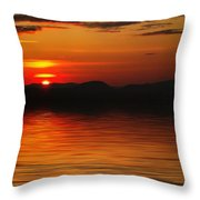 Sunset Reflection On The Lake Throw Pillow