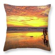 Sunset Ocean Runners Throw Pillow