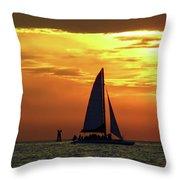 Sunset Sail Away Throw Pillow