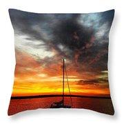 Sunset Sailboat Throw Pillow