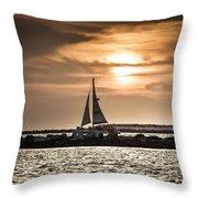 Sunset Sailing  Throw Pillow