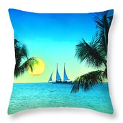 Sunset Sailor Throw Pillow by Bill Cannon