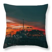 Sunset Santa Monica Pier Throw Pillow