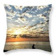 Sunset Sea Fishing  Throw Pillow