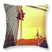 Sunset Ship Throw Pillow