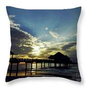 Sunset Silhouette Pier 60 Throw Pillow
