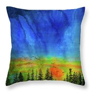 Sunset Silhouette With Canada Geese Throw Pillow