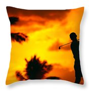 Sunset Silhouetted Golfer Throw Pillow