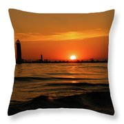Sunset Silhouettes At Grand Haven Michigan Throw Pillow