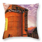 Sunset Silo Throw Pillow